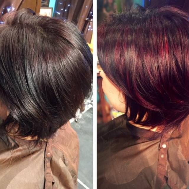 A beautiful before and after Balayage by: Carley