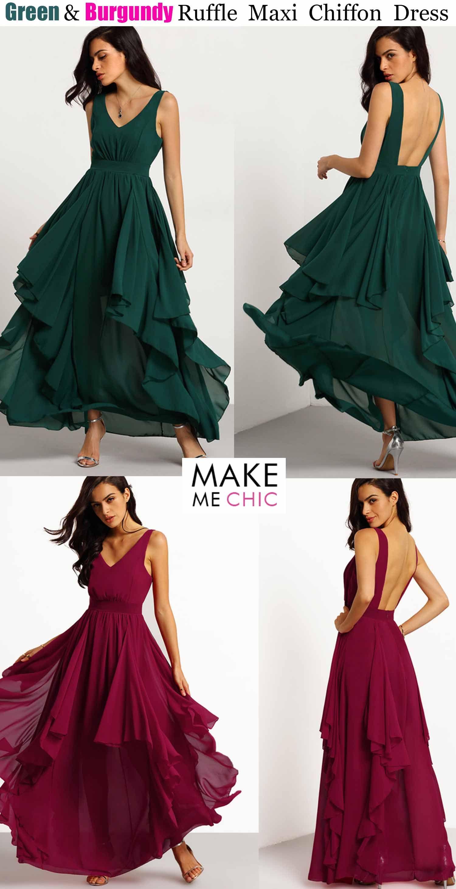 Green ruffle maxi chiffon dress makemechiccom drop dead