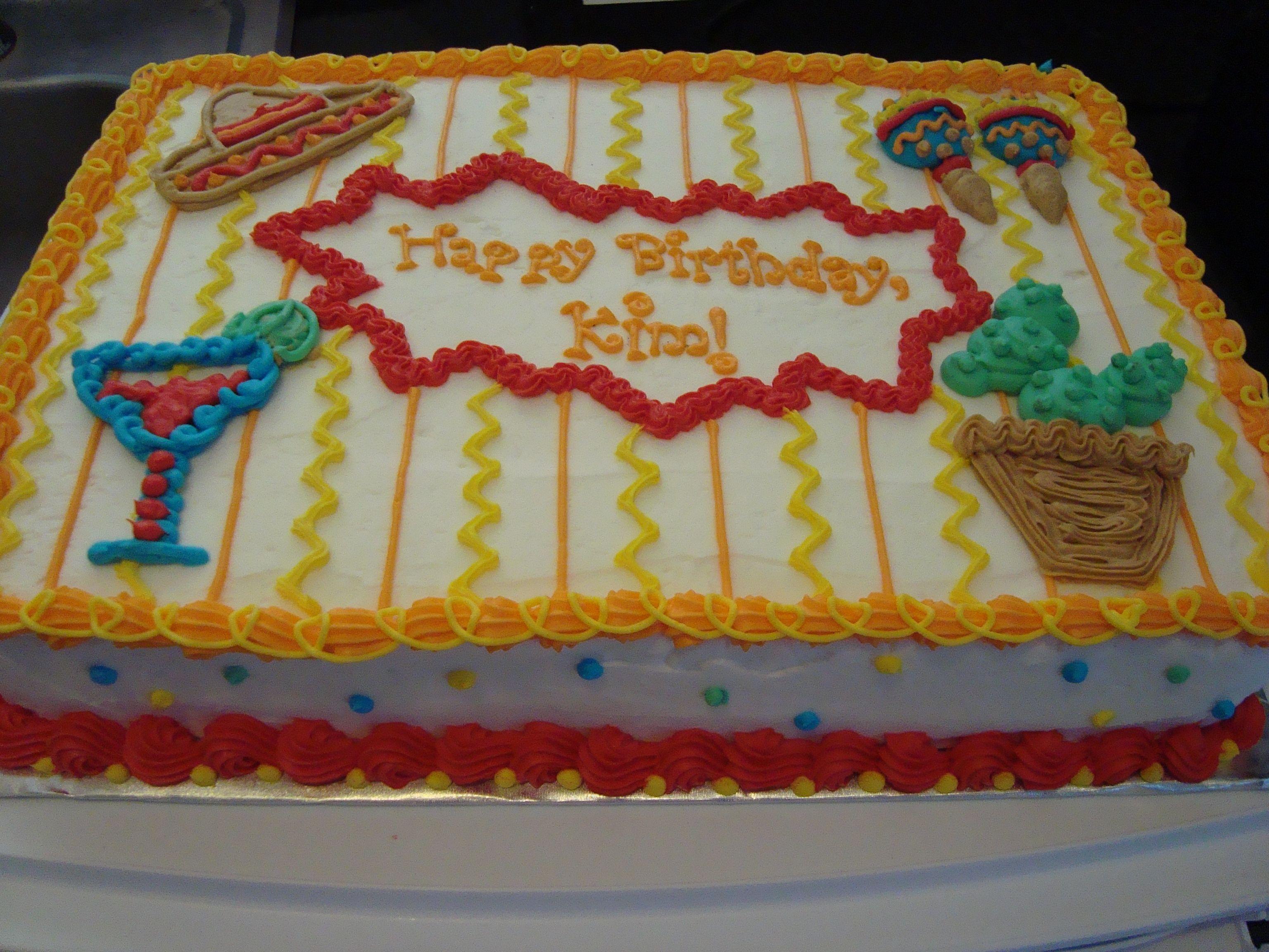 Fiesta Birthday - All buttercream, 1/4 sheet cake