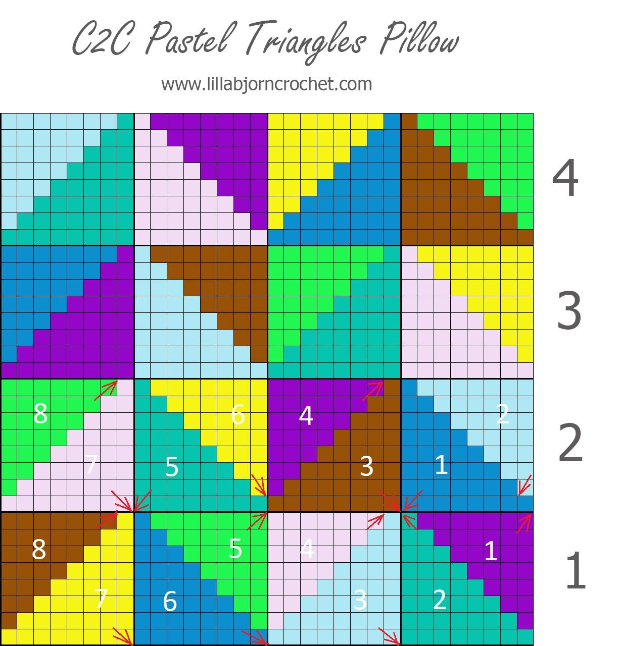 Pastel Triangles Pillow Join As You Go In C2c Crochet Video