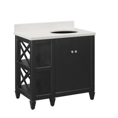 home decorators collection hayes 36 in vanity in black with cultured marble in offwhite with white basin
