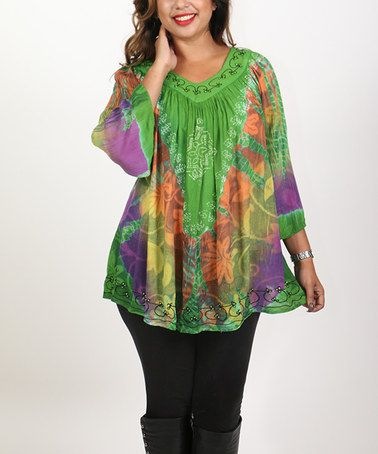 This Green & Purple Floral Tie-Dye Embellished Tunic - Plus is perfect! #zulilyfinds