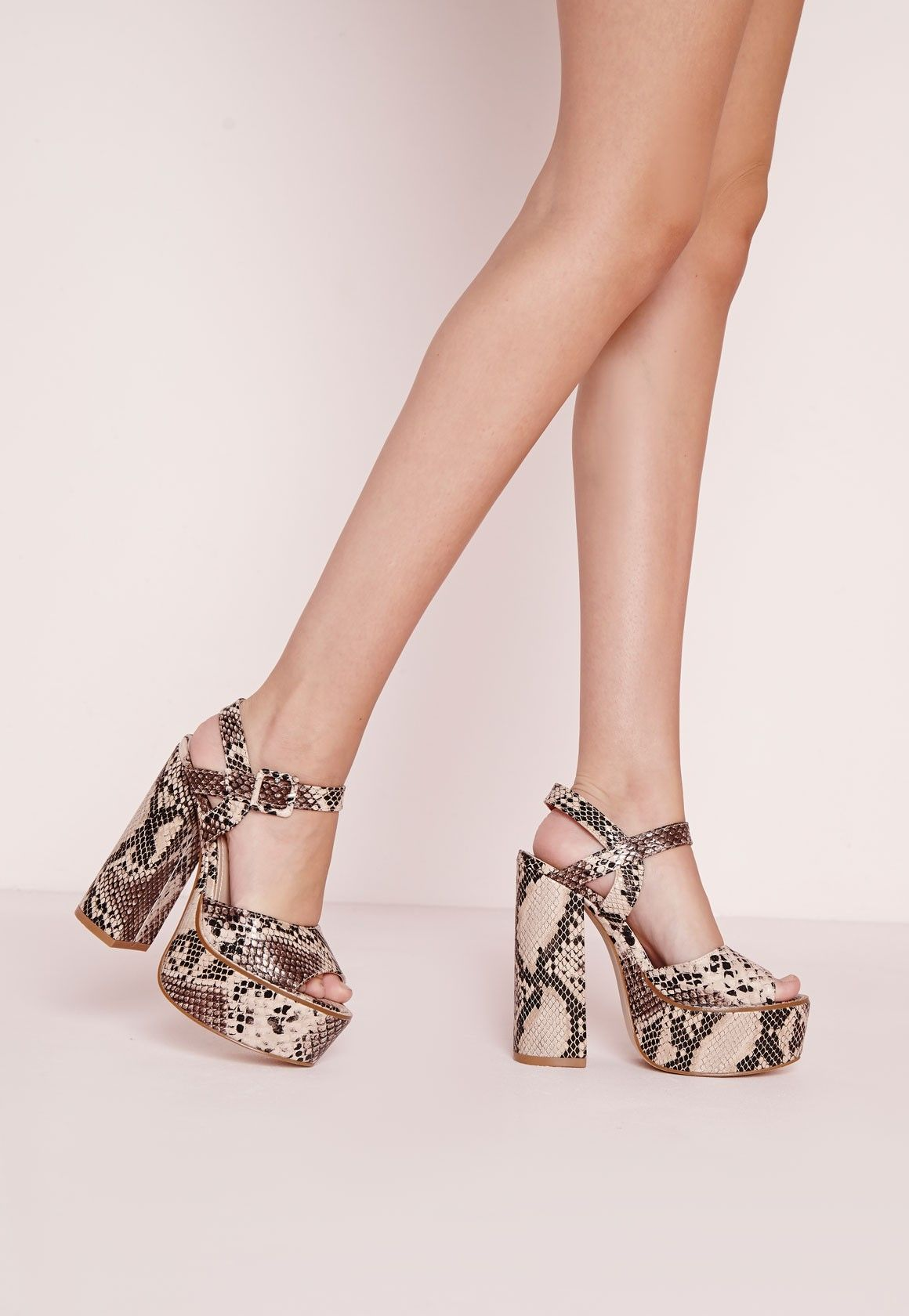2243b25075f68 Missguided - 70's Platform Block Heel Sandals Snakeskin | clothing ...