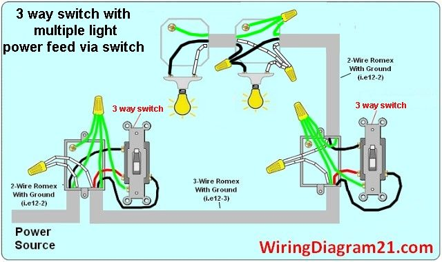 3 way switch wiring diagram multiple light double | 3 way