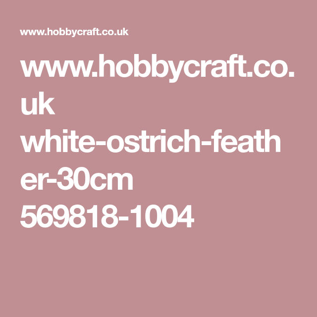 Www Hobbycraft Co Uk White Ostrich Feather 30cm 569818 1004 Ostrich Feathers Ostrich Feather