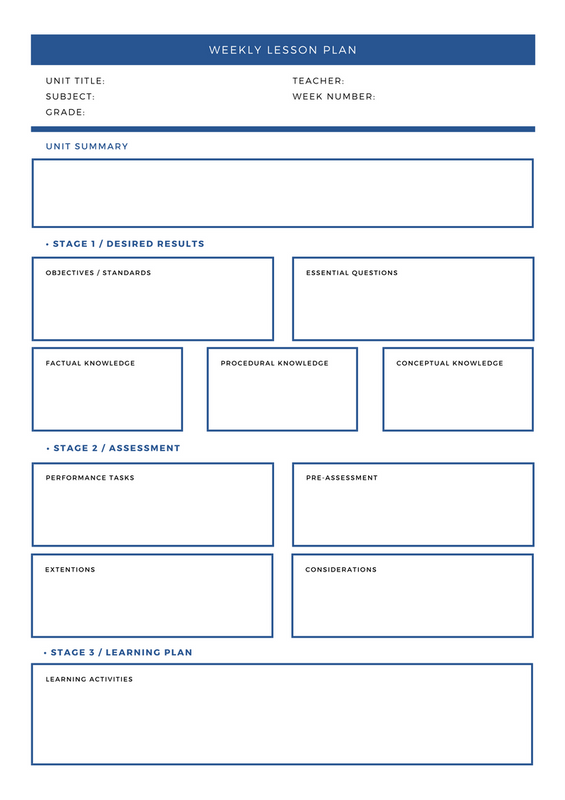 dark blue white formal design unit weekly lesson plan stock