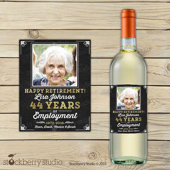 Retirement Decorations Wine Bottle Label Custom Wine Label Retirement Party Personalized Wine Label Retirement Gifts Retirement