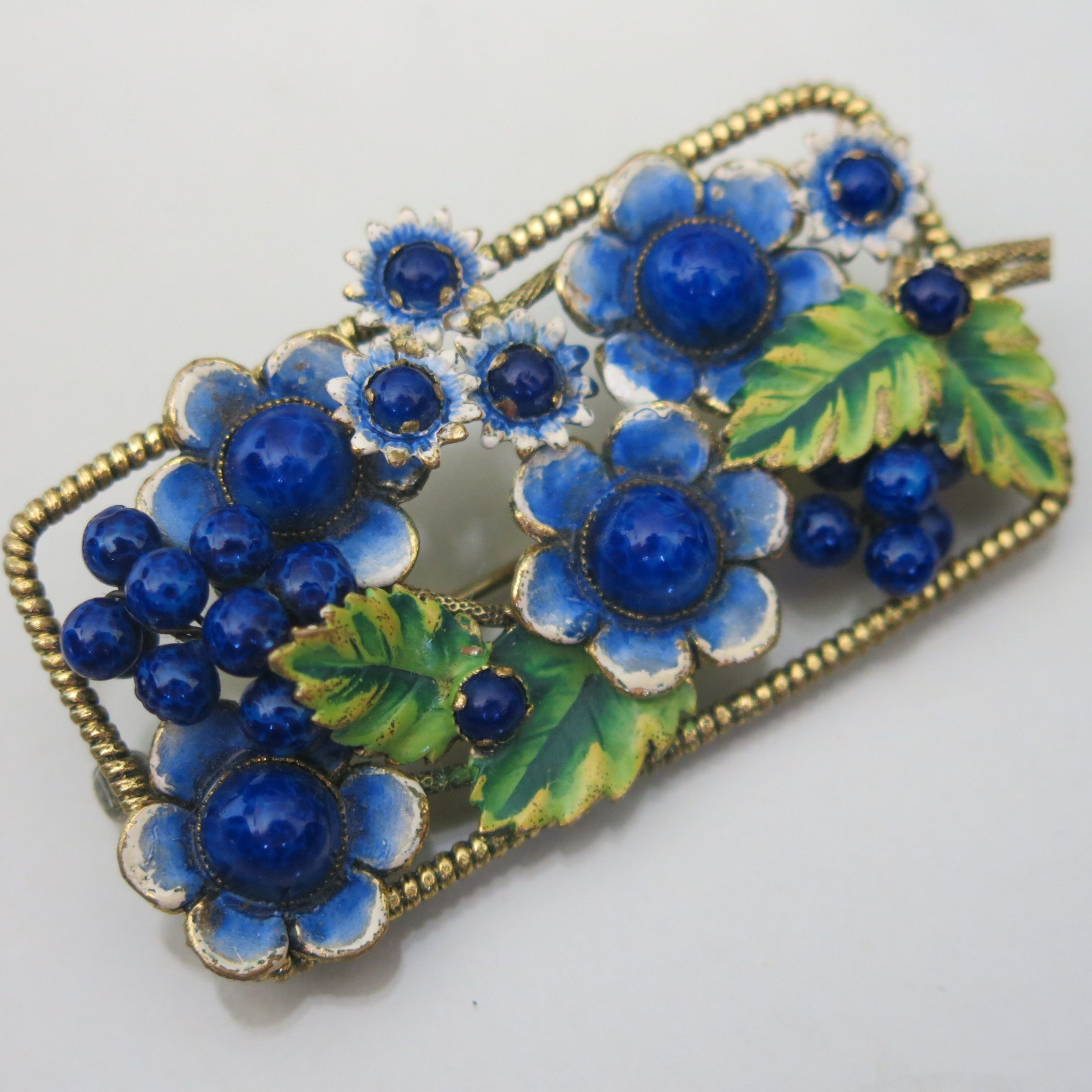 antique Sterling Glass Brooch  Unique vintage costume and estate jewelry.