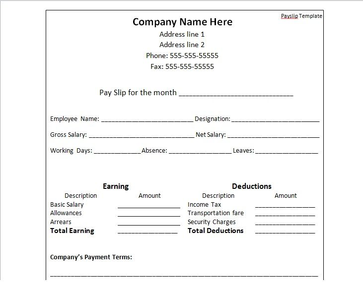 Payslip Template Free Download Payslip Template Format In Word  Templates  Pinterest  Template