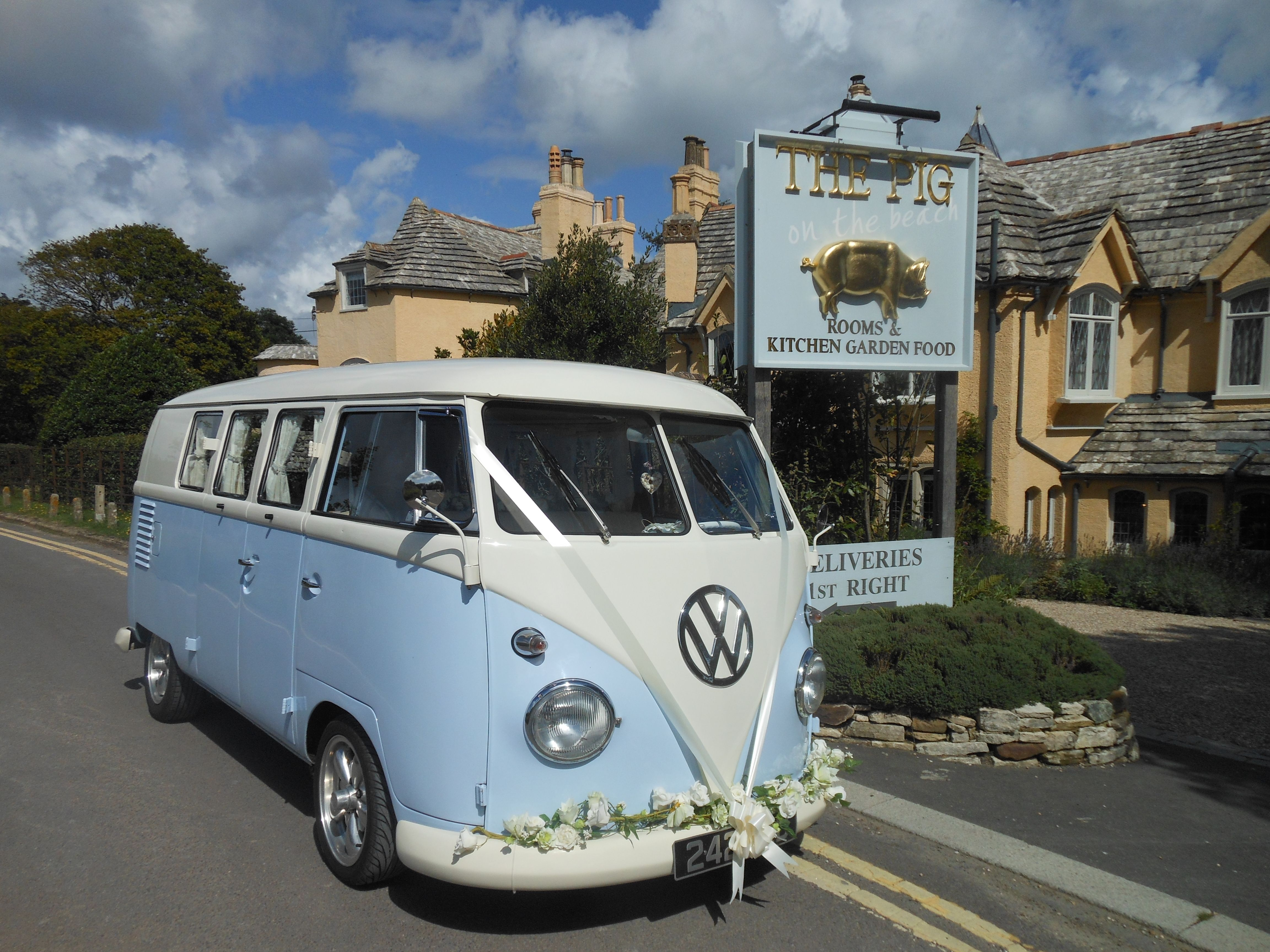 Lulu our 1960 splitscreen waiting for the bride at The Pig on the ...