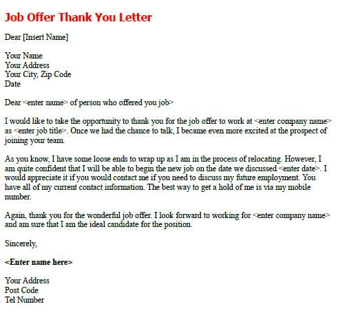 Job Offer Thank You Letter Example letters Pinterest Job offer