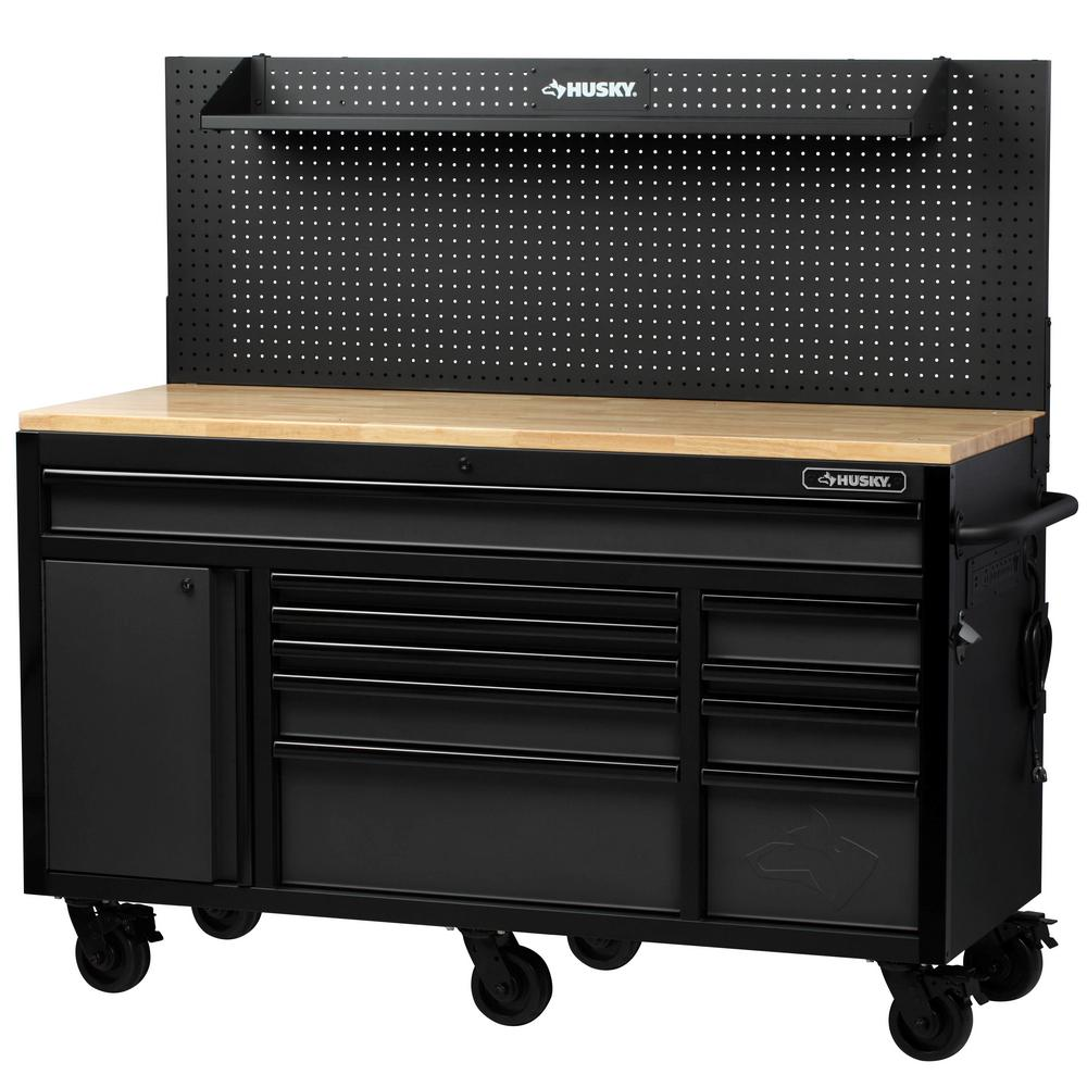 Husky Heavy Duty 61 In W Deep 10 Drawer 1 Door Tool Chest Mobile Workbench In Matte Black With Flip Up Pegboard H61mw In 2020 Mobile Workbench Garage Decor Workbench