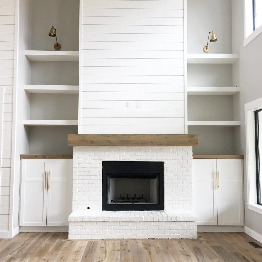 Nichole Lynne Speirs On Instagram Okay Guys Let S Just Talk About A Few Of My Favorite Things Shiplap White Brick Brass Details Need I Say Mo Fireplace Built Ins