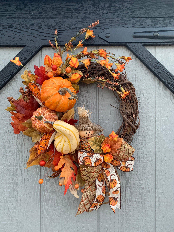 Photo of Harvest Scarecrow Wreath, grapevine wreath, small wreath, wreath, front door wreath, scarecrow wreath, pumpkin wreath