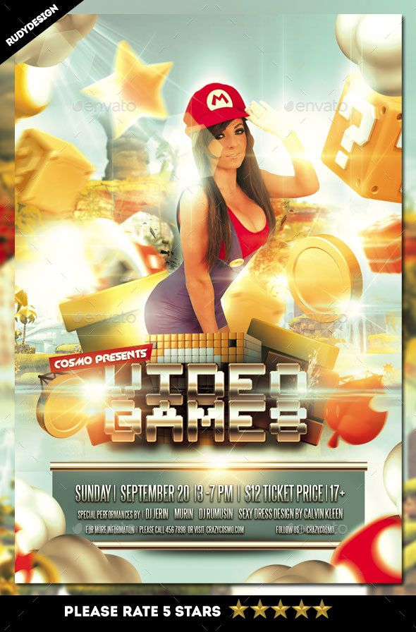 Video Games Flyer  FontsLogosIcons    Event Flyers