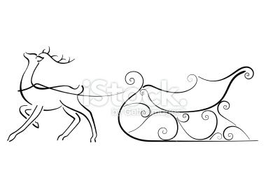Reindeer Drawing With Sleigh Christmas Fonts Doodles Templates Kids