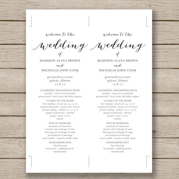 Wedding Program Template - 61+ Free Word, PDF, PSD Documents - invitation templates free word
