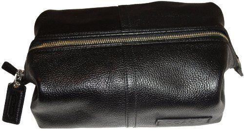 Men S Coach Pebble Leather Framed Toiletry Travel Bag Kit Black 168 00