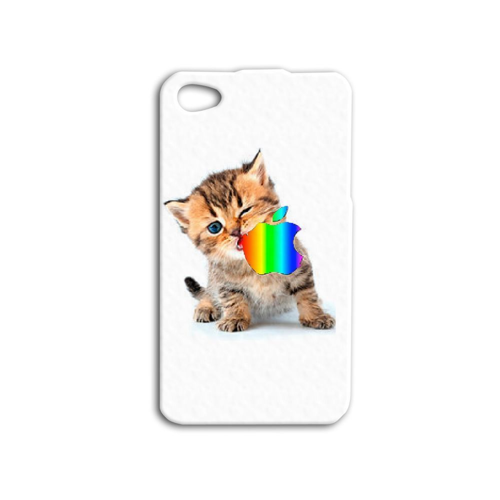 Adorable Cat Eating Rainbow Apple Logo Cute Phone Cover Funny Iphone Case Kitty Kitten Case Funny Phone Cases Iphone Cats Case Rainbow Apple Logo