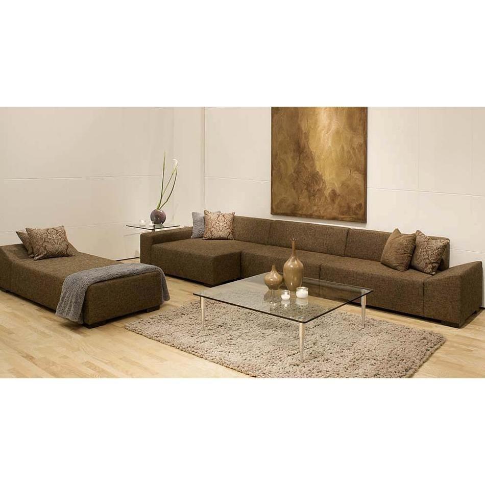 Brown Tweed Modern Sectional
