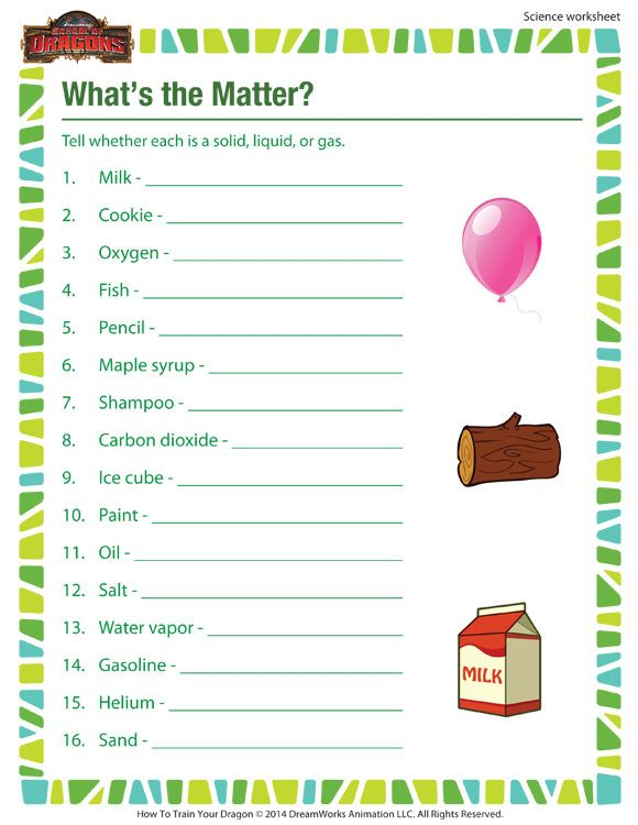 What 39 S The Matter Printable Science Worksheet For 3rd