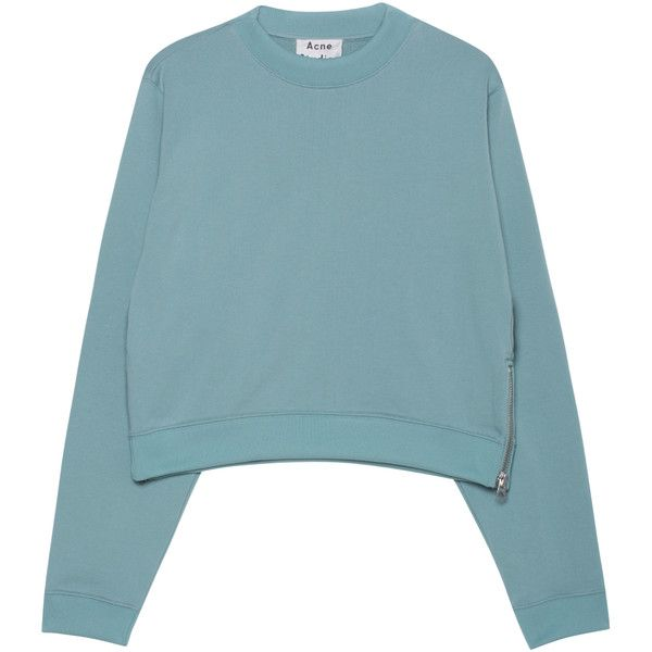 ACNE STUDIOS Bird U Fleece Seagreen // Cropped cotton blend ...