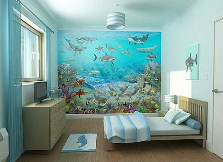 sea fish wallpaper murals and simple bedding sets in small kids bedroom interior design - Kids Interior Design Bedrooms