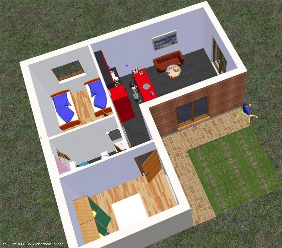 Viviendas de madera casas de madera de madera y - Casas de cemento y madera ...