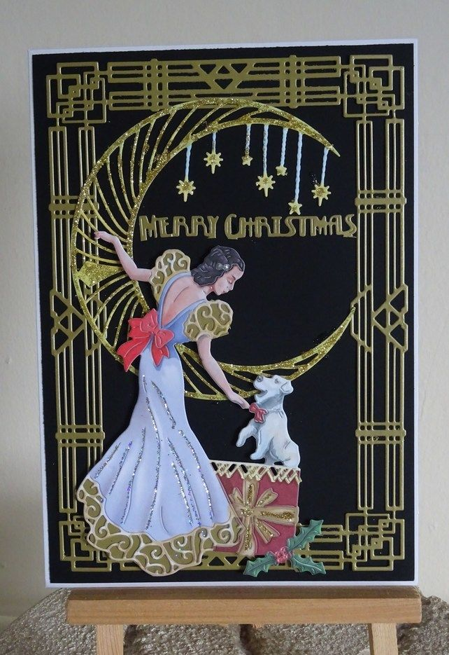 Hand made Art Deco Christmas card with puppy £3.25 | Handmade gifts ...