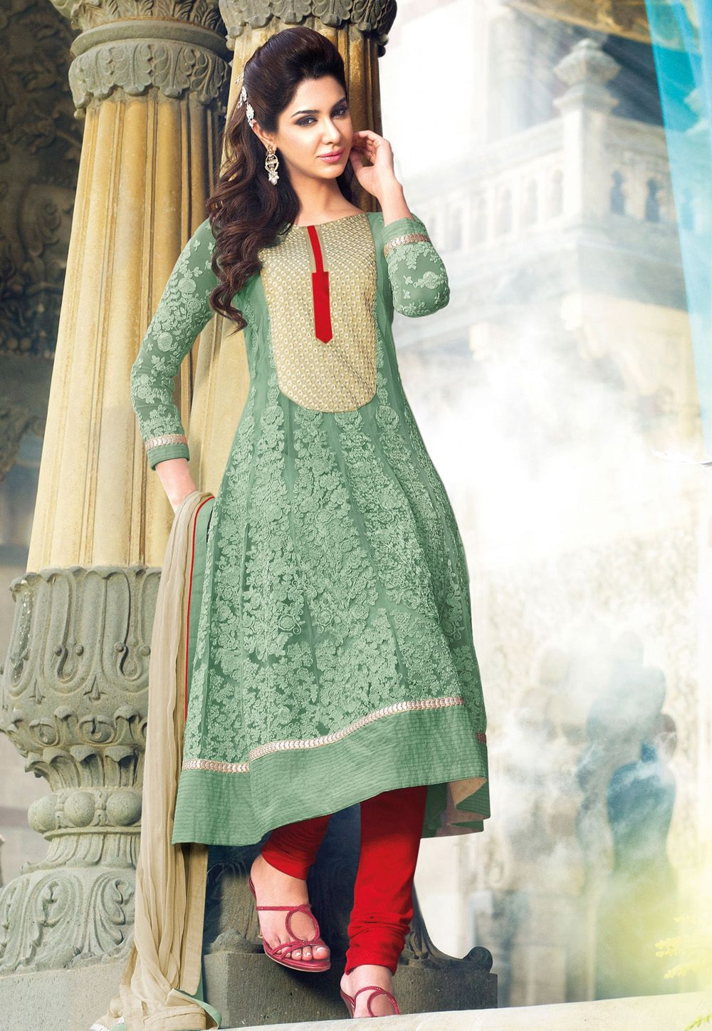 Light #Green Faux Georgette #Anarkali Churidar Kameez @ $150.57