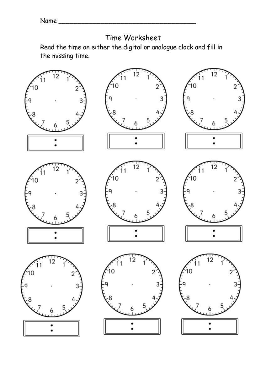 Blank Clock Template Printable K5 Workshets Work Sheet