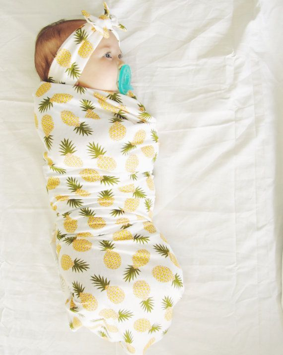 Pre-order Pineapple Swaddle Blanket and Headband by MilkmaidGoods