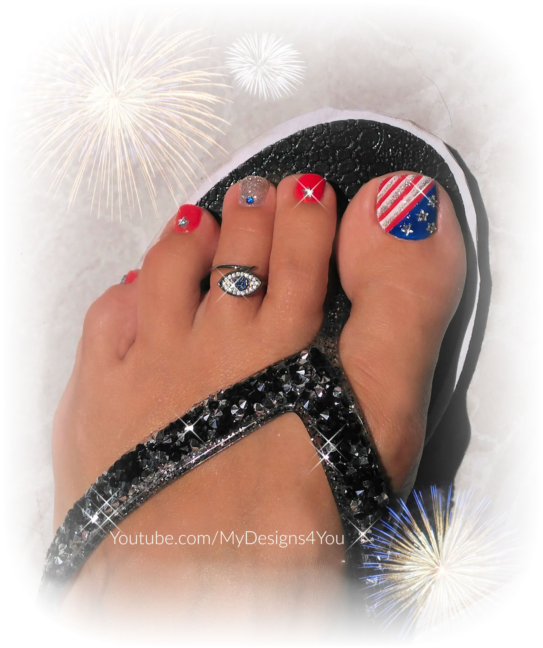 Classic 4th of July Toenail Art Tutorial | Independence Day Pedicure ...