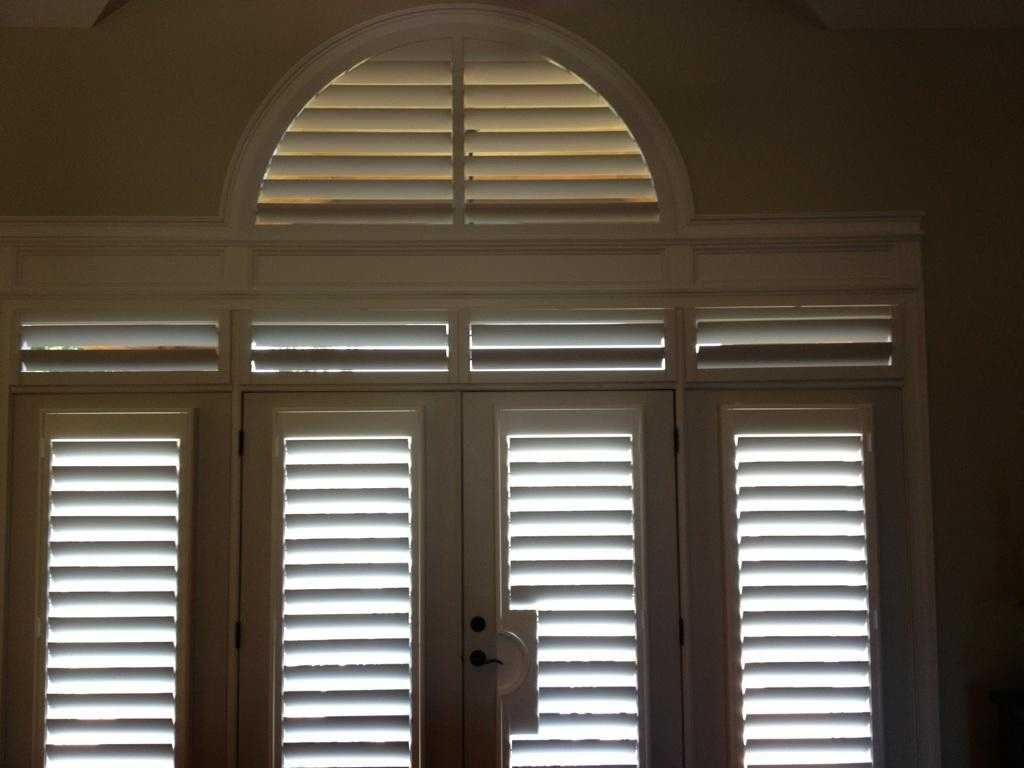 Shutters arched transom wood white living room door shutters