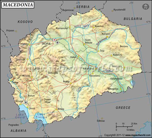 Macedonia Latitude And Longitude Map Macedonia Travel - World map with longitudes