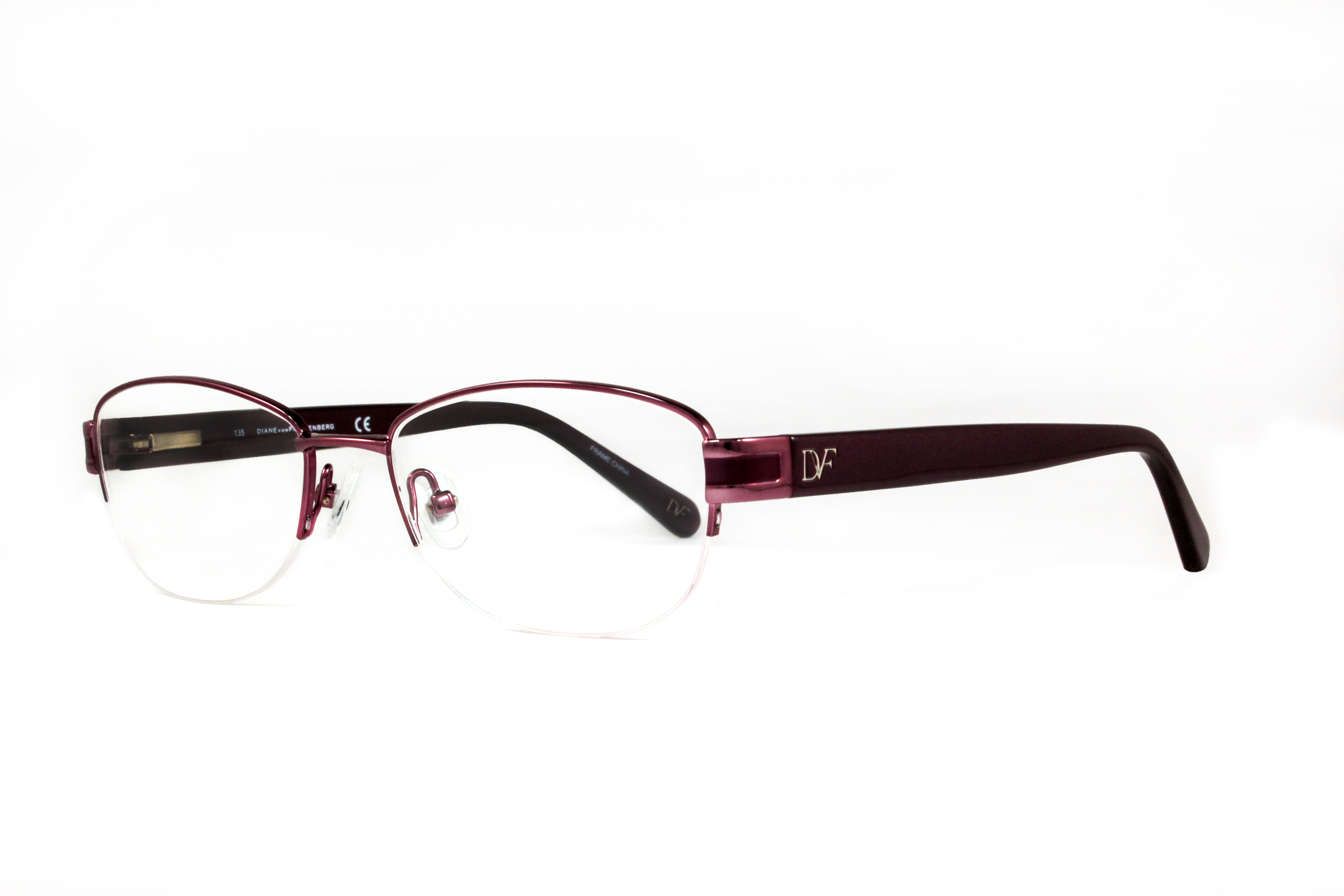 Try out this semi-rimless pair of DVF eyewear in a feminine color ...