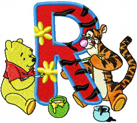 winnie pooh and tiger painting alphabet letter r machine
