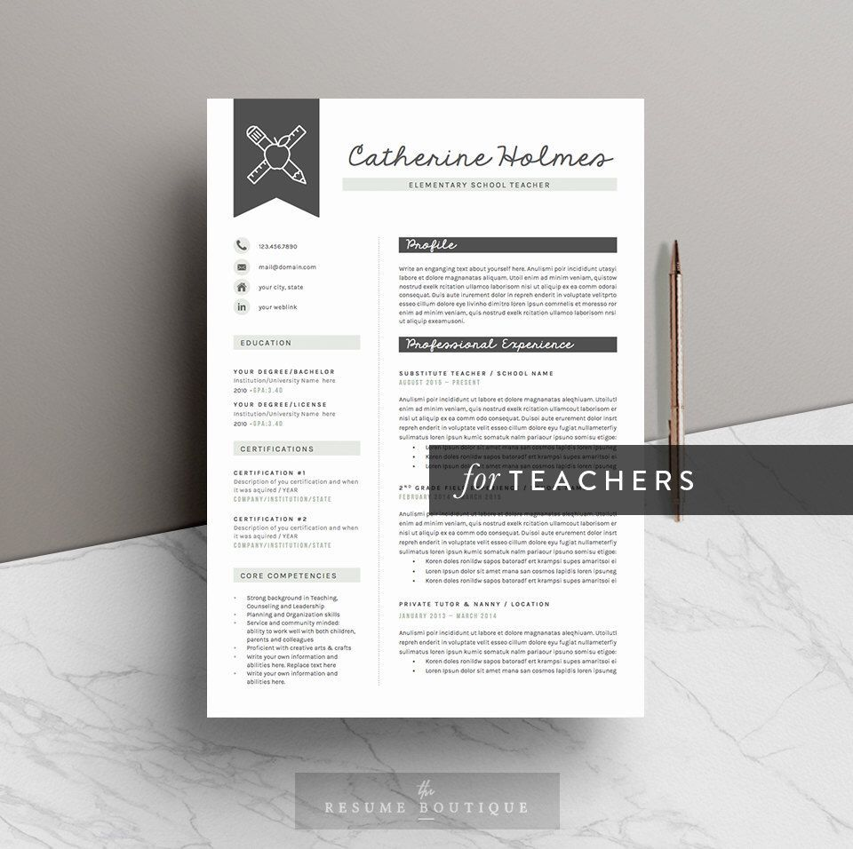 Teacher Resume Template for Word ( 5 Pages ) + Icon Pack