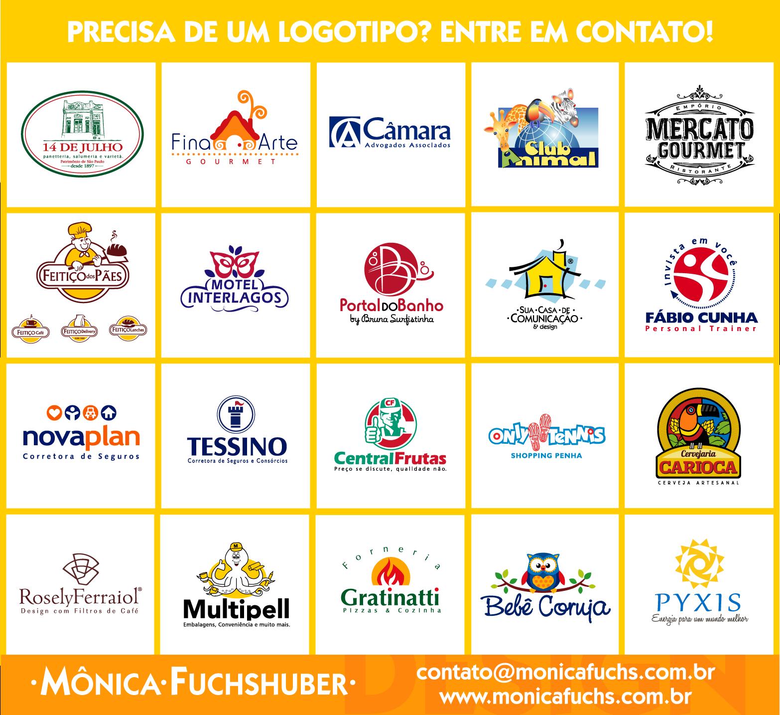 Alguns logotipos desenvolvidos por Mônica Fuchshuber