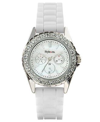 Style Watch, Womens White Silicone Strap SC1127 - Womens Watches - Jewelry & Watches - Macys