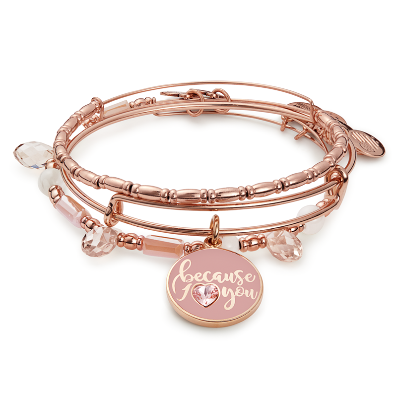 Alex And Ani Because I Love You Bracelet In Rose Gold Tint Heartfelt Reciative Connective