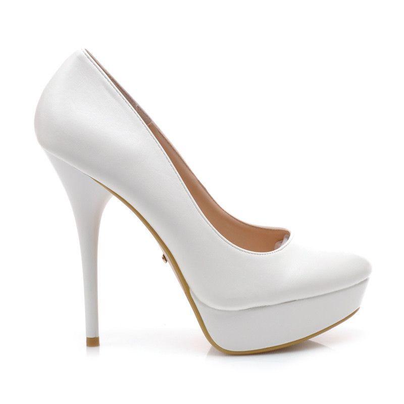 Biale Czolenka S3477 5w S1 30p Stylowe Obcasy Heels Wedding Shoe Pumps
