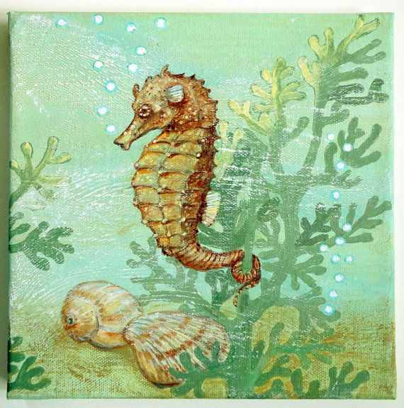 Original Painting on Canvas Seahorse by seasidehome on Etsy, $125.00