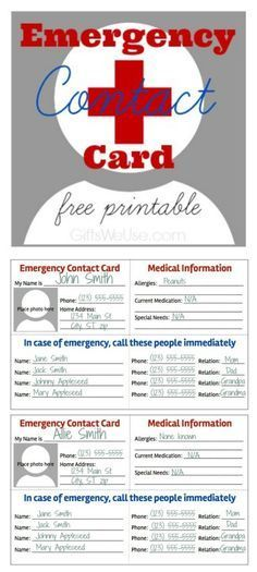 Emergency Contact Card Free Printable Gifts We Use Emergency