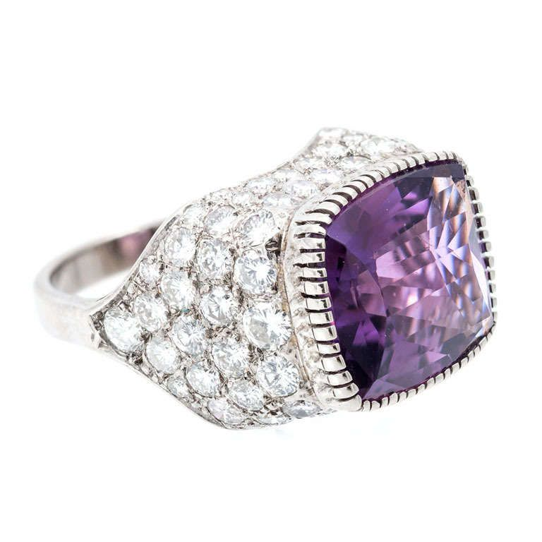 Dome Shaped Bands: Amethyst Diamond Gold Dome Shaped Ring