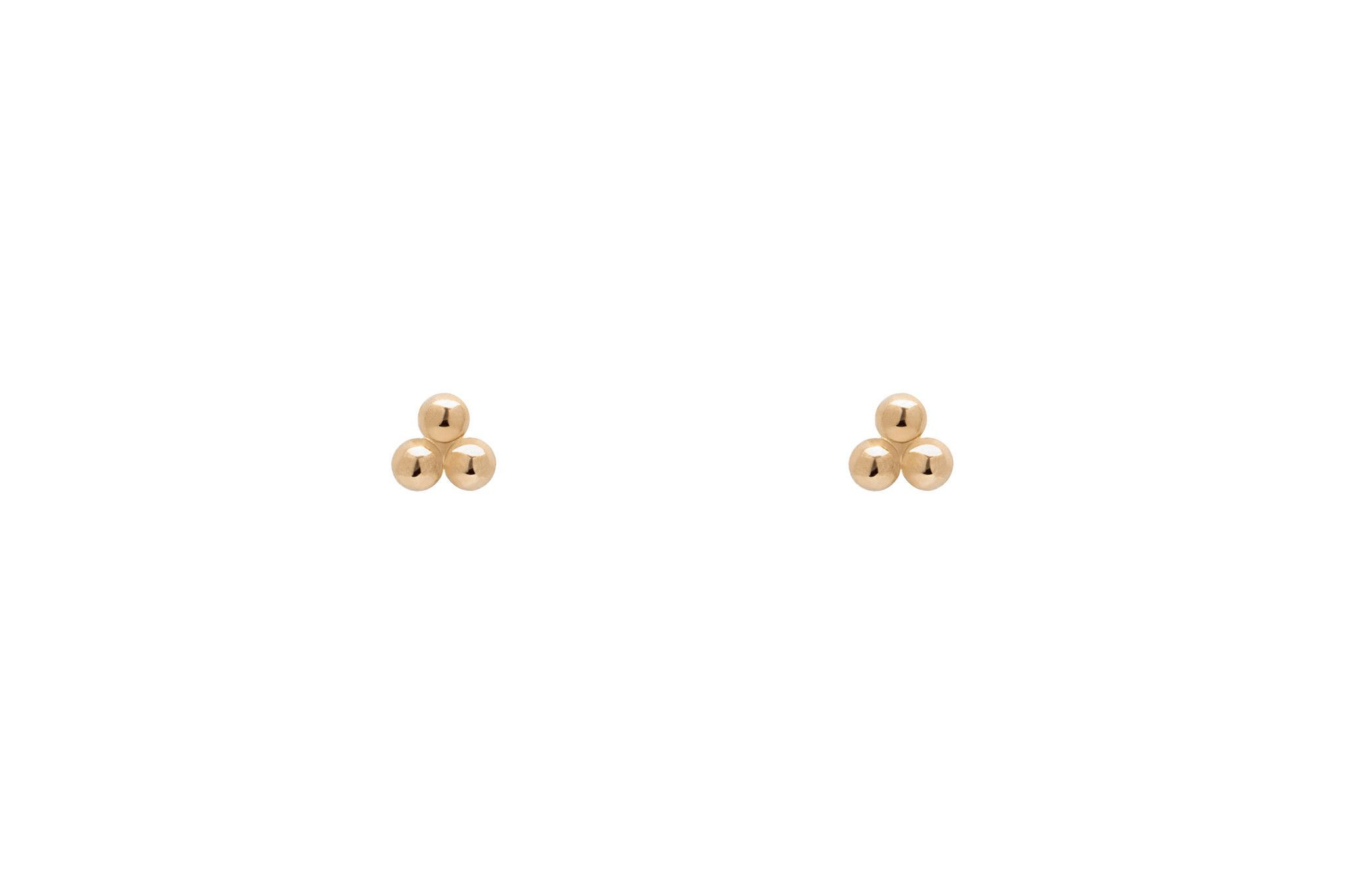 Tiny Clover Three Dot Stud Earrings