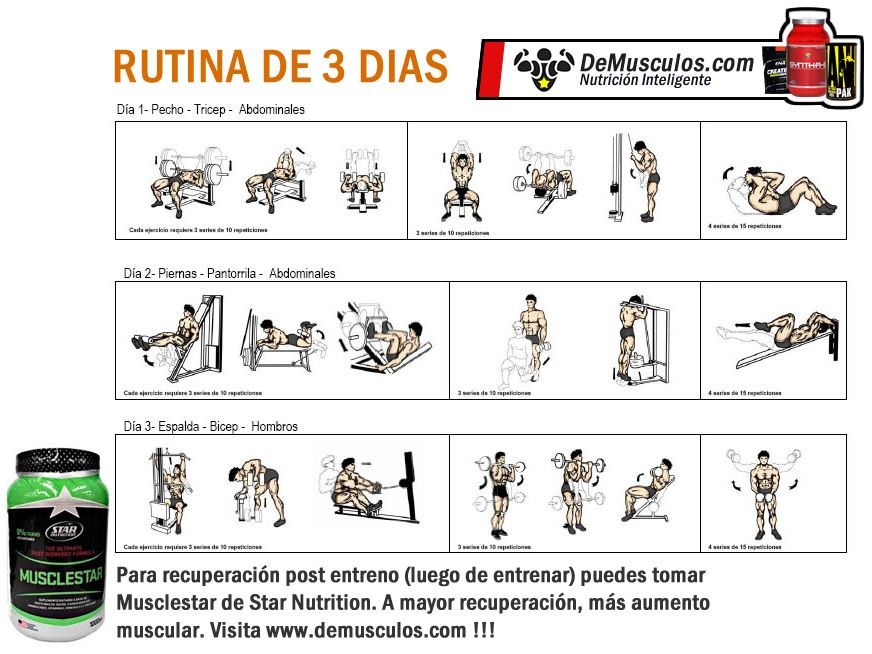 rutina de 3 dias para definicion muscular