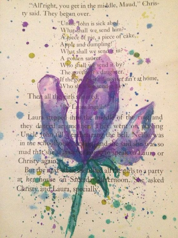 Watercolor Painting On Recycled Book Page