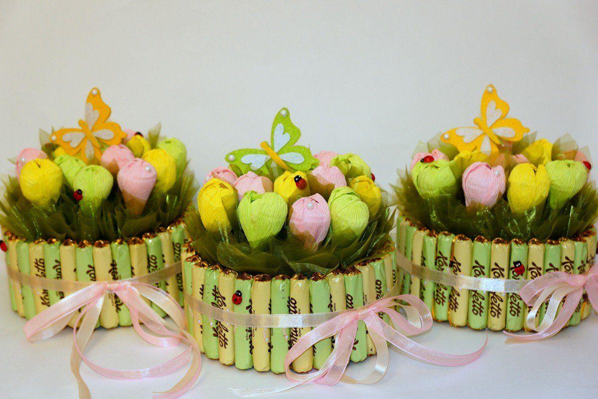 Свадебные корзины с конфетами своими руками