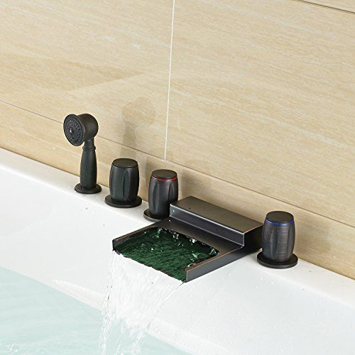 Rozin Oil Rubbed Bronze Led Light Waterfall Bathtub Faucet Deck